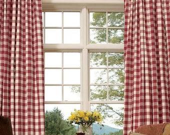 Red White Buffalo Check Curtains. Farmhouse Curtains. Buffalo Check Drapes. Bedroom Curtains. Country Farmhouse Decor.Pillows.Small Checks