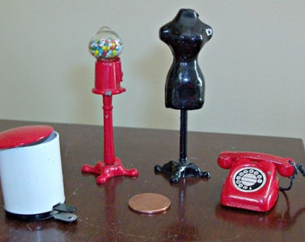 Vintage Dollhouse Wastepaper Can, Bubble Gum Machine, Dress Form and Telephone