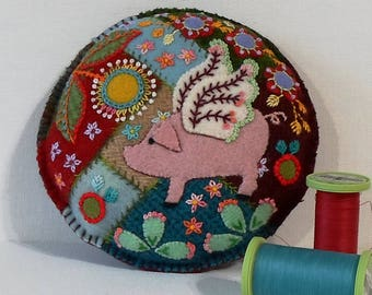Handmade Summer Flying Pig Felted Wool Embroidered Crazy Patch Pincushion