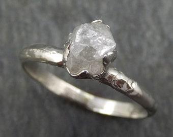 Raw Rough Uncut Diamond Engagement Ring Rough Diamond Solitaire 14k white gold Conflict Free Diamond Wedding Promise byAngeline 0364