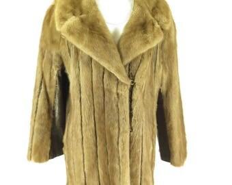 Vintage 70s Mink Fur Coat Womens XL Brown Leather Evans Soft Monogram Ribbed [H02U_3-10_Fur]