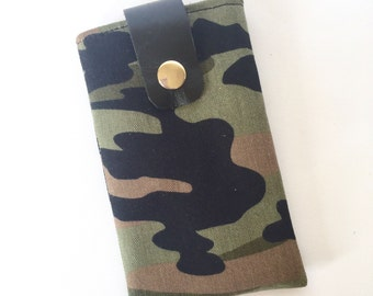 Paige Mobile Phone/Ipod Pouch: Army Camouflage Cotton and Black Leather strap