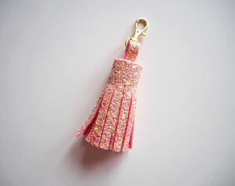 Light Pink Glitter Tassel Keyring, Sparkly Pink Tassel Charm, Pink Glitter Charm, Glitter Keychain, Sparkly Gifts for Her,
