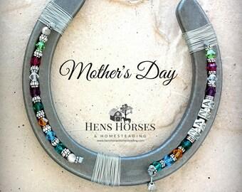 Mother's Day Horseshoe Keepsake | Nana | Mother's Day Multi Birthstone Horseshoe | Mother's Day Gift | Grandchild Birthstone Horseshoe