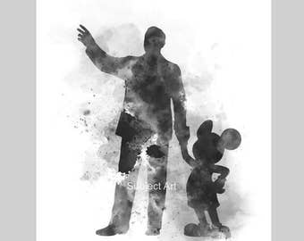 Walt Disney walking with Mickey Mouse inspired ART PRINT illustration, Black and White, Disney, Wall Art, Home Decor, Nursery
