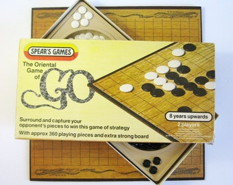 "Vintage GO Game - Complete Box Set - Oriental Strategy Game - Original Box - 16"" Folding Game Board - Family Game Night - Wei Qi - Baduk"