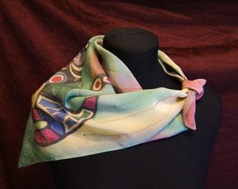 "Hand painted Silk shawl ""cat's dream"""