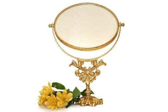 Stylebuilt gold standing mirror filigree vanity mirror for Gold standing mirror