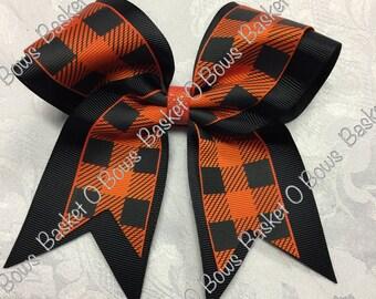 Torrid Orange and BLACK Plaid Small Hair Bow ~ Softball/Volleyball/Cheer/Soccer/Bowling/Gymnastics/Dance/Team ~ MTO