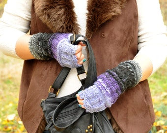 Lilac knitted fingerless warmers gloves Women Mittens Thumb Hole Gloves by TTAcc