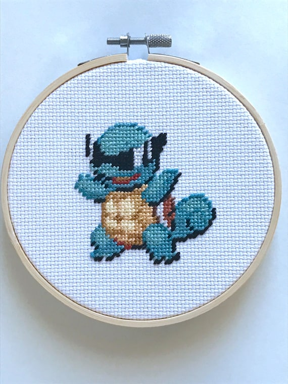 "Squirtle Pokemon Cross Stitch Needlepoint Embroidery in 5"" Hoop"