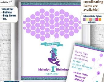 Mermaid Birtday Guest Book Alternative and Mermaid Wall Art Printable, digital file for Purple Teal Birthday, sea themer-ao140hb27