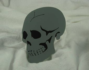 Double Layered Black and Gray Skull Trailer Hitch Cover