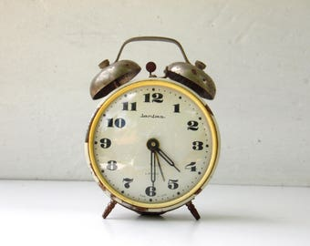 Vintage Mechanical Alarm Clock - JANTAR - from Russia / Soviet Union / USSR