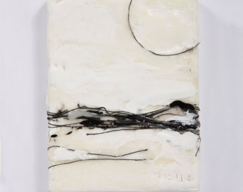 Original Mini Black and White Abstract Painting