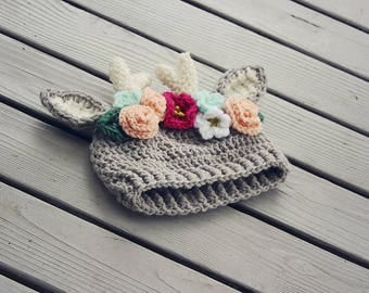 Fawn hat with peach and Dark pink flowers