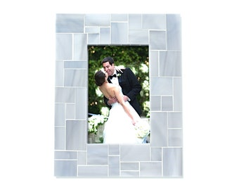 4x6 Stained Glass Picture Frame in Light Grey Mosaic Tile