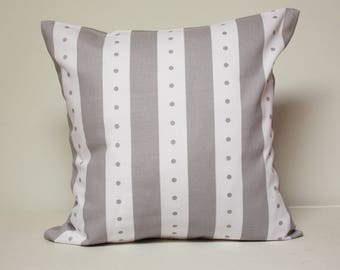 Baby Pillow cover - Gray and white lines and dots pattern, nursery decor, grey pillow covers