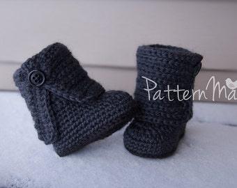 Crochet Baby Boot Pattern PDF Fold Over Button