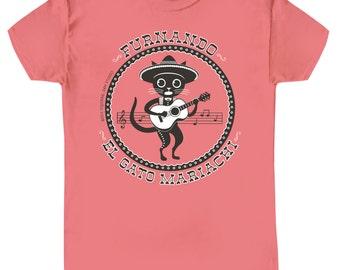 FURNANDO,  Cat Tee Shirt, El Gato Mariachi, on Coral Orange Sim Fit Ladies' on Sale!