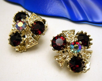 Pretty Vintage Rhinestone Earrings Red AB Gold Tone Clip Ons