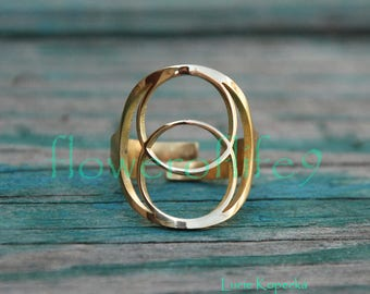 Vesica Pisces II ring - Brass