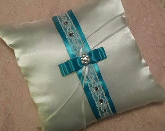 Turquoise Blue & White Satin Crystal Lace Wedding Ring Bearer Pillow -- Choose Your Color