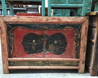 Antique Chinese Storage Credenza with Painted Red Doors and Chinese Motif (Los Angeles)