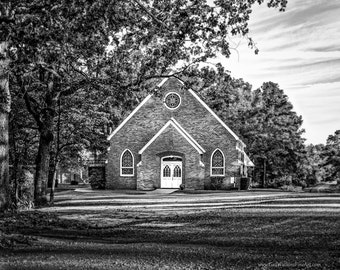 Church Photograph, Historical McMahan Chapel Print in Color or Black and White, Historical Landmark Chapel Fine Art Print, Methodist History