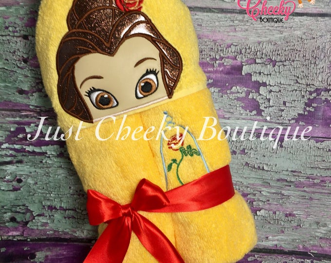 Rose Princess Inspired Hooded Towel - Belle - Beauty and the Beast - Disney Birthday - Disney Princess