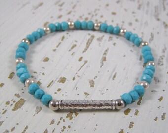 turquoise beaded bracelet, turquoise stretch bracelet, Silver Turquoise bracelet, dainty beaded bracelet, thin turquoise bracelet,