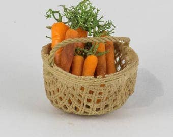Round Basket of Carrots; Garden Vegetables; Kitchen Basket; Dollhouse Food; Scale 1:12; Whole Carrots