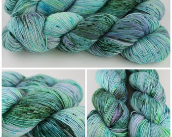 Simple Sock - Hand dyed yarn {Cry Me a River} green, blue, neon with purple speckles yarn, sock yarn, hand dyed sock yarn