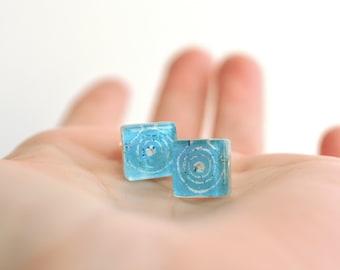 Enamel earrings, Turquoise earrings, Blue studs, Artisan jewelry, Sterling silver earrings, Square studs, Blue earrings, Enamel jewelry