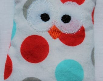Ouchie Owl ~ Hot or Cold ~ Rice Pack - White - Dots - Red, Blue, Gray, White