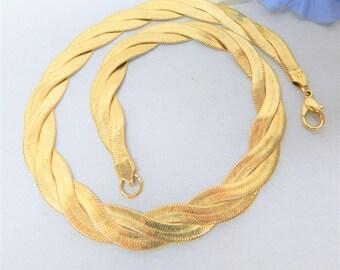 Avon Braided Herringbone Necklace Vintage Gold Tone