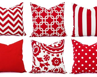 One Red Pillow Sham - Red Decorative Pillow - Red Pillow Cover - Red Pillows - Holiday Pillows - Red Pillowcases - Pillow Covers