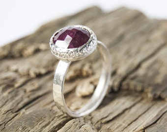 Ruby and siver ring, ruby stacking ring, alternative engagement ring, handmade ring, size O ring