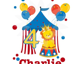 Personalized Digital image, circus, carnival, lion, Printable Iron On Transfer, first, custom Birthday Shirt image