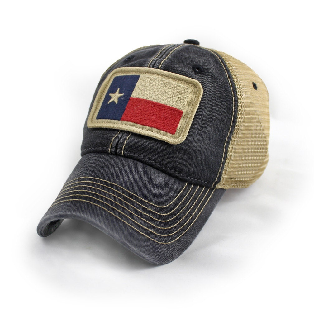 Texas Flag Patch Trucker Hat Black