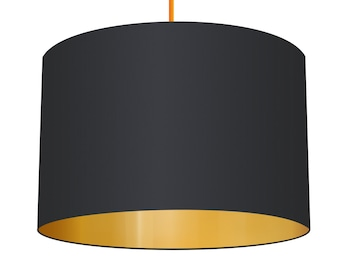Black Linen Fabric Drum Lampshade With Brushed Metallic Gold Effect Lining