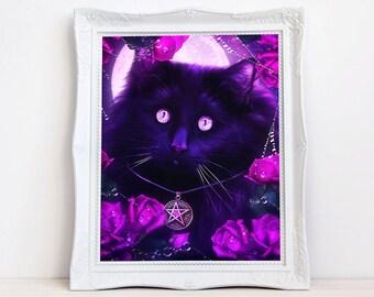 Black Cat print   Wiccan cat art   Pagan   cat with roses   fantasy cat art   cat wall decor   moon cat   mystical cat  witch's familiar