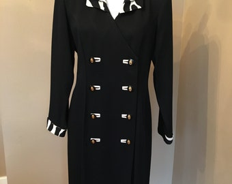 Vintage Tailored Double Breasted COAT DRESS Made by Danny & Nicole New York