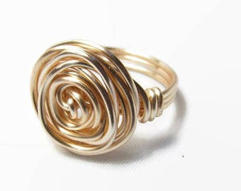 Gold Fill Ring, Wire Rose Ring, Wire Wrapped Ring, Womens Ring, Size 4 5 6 7 8 9 10 11 12 13 14, Statement Ring, Bold Ring, Spiral Ring