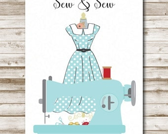 Sew and Sew Printable Art Craft Room Wall Art Retro Sewing Room Decor Craft Room Print Sewing Sign 5x7 8x10 11x14