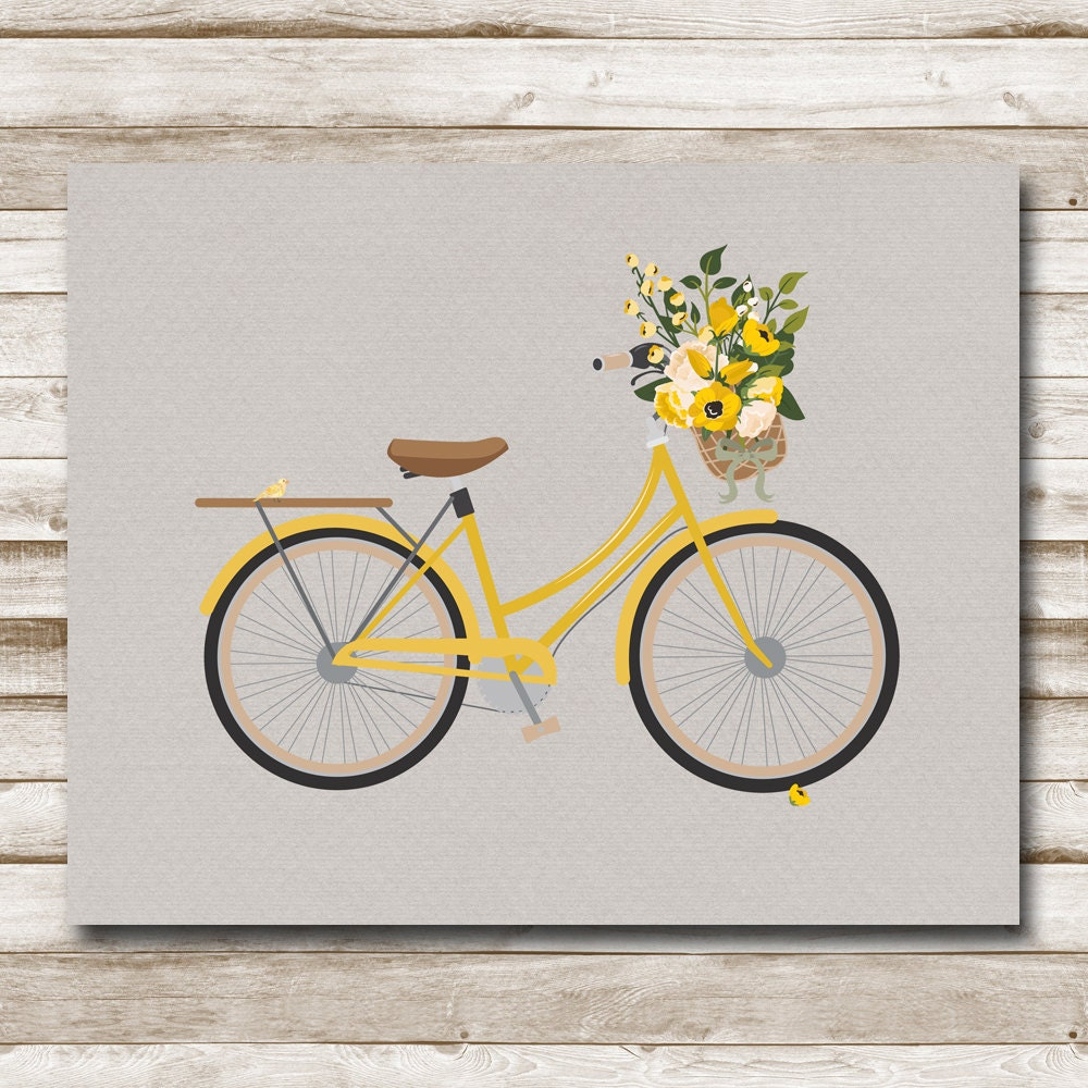 Vintage Bicycle Printable Yellow Bike Art Flower Basket
