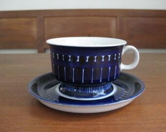 ARABIA of Finland - VALENCIA - Tea Cup with Saucer - Ulla Procopé - midnightblue