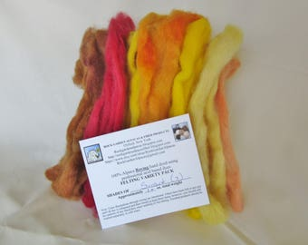 1.0 oz. Alpaca Roving - Hand Dyed - Shades of Sunset - Felting Variety Pack