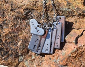 Custom handstamped Mother's or Grandmother's necklace
