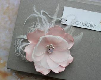 Wedding Hair Flower -Wedding Hair Piece - Champagne  Pink Blush Hair clip -Bridesmaid hair Accessories Bridal Headpiece Bridal Hair Piece